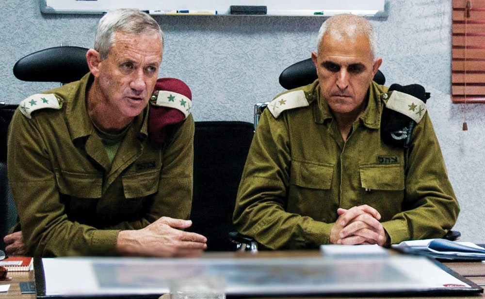 IDF Chief of Staff Benny Gantz (L) seen with IDF Southern Command Sami Turgeman. They have come under fire for telling residents of the south to return home before it was safe. (IDF SPokesperson/ Flash90)