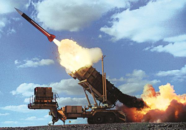 A Patriot missile in action.