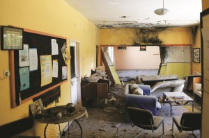 children's room that sustained a direct hit by a mortar fired from Gaza, in Eshkol, Thursday. (Flash90)