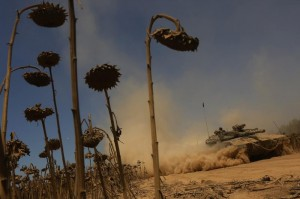 Israeli Merkava tanks pass a dried-out sunflower field as troops pull back from the Gaza Strip, at an unspecified location near the border, Sunday. (EPA/ATEF SAFADI)