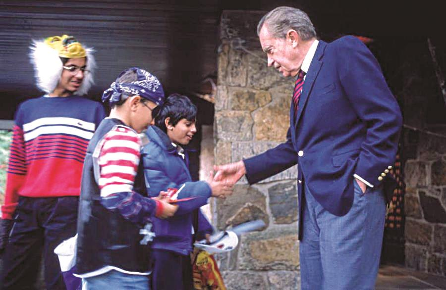 Former President Richard Nixon greeting children at his Bergen mansion. (Bergen County)