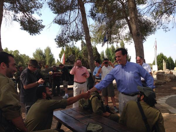 Former United States Senator Rick Santorum on Tuesday meeting with Israeli combat soldiers less than a mile from Gaza. (Twitter/Rick Santorum)