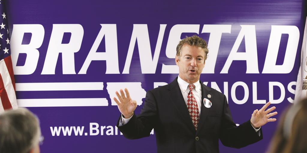 Sen. Rand Paul (R-Ky.) speaks during a stop with local Republicans in Hiawatha, Iowa.  (AP Photo/Charlie Neibergall)