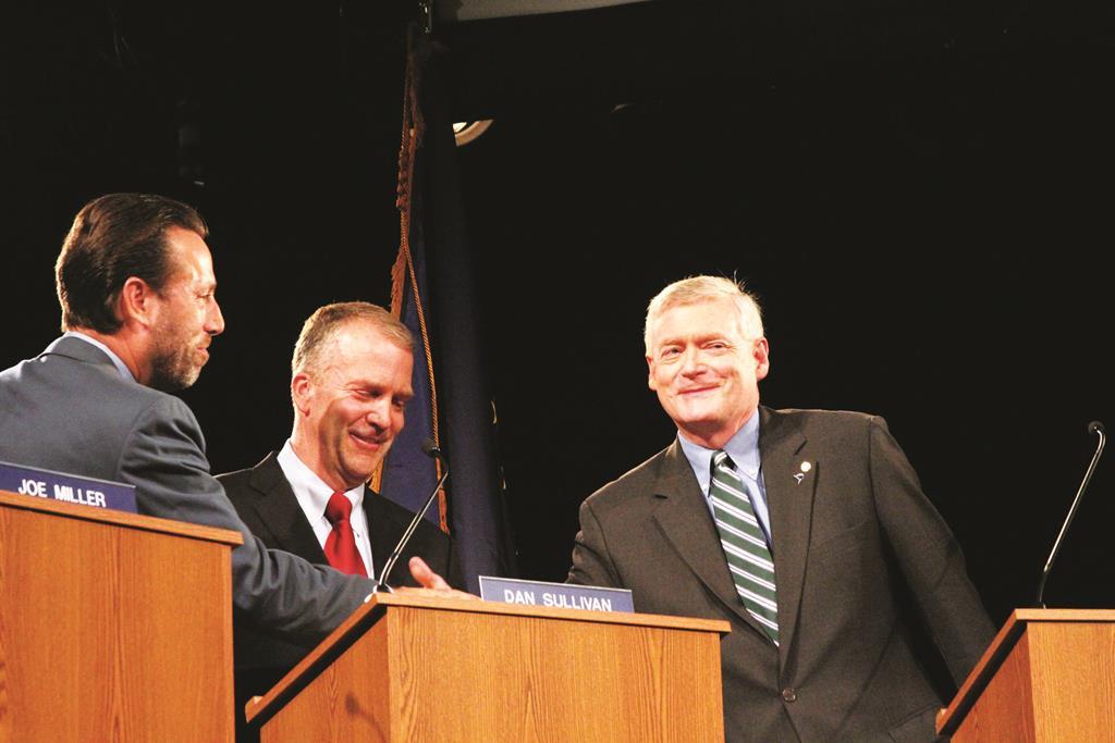 AlaskaRepublican U.S. Senate candidates Joe Miller left, Dan Sullivan, middle, and Mead Teadwell greet before a live debate Sunday, in Anchorage, Alaska. (AP Photo/Mark Thiessen)