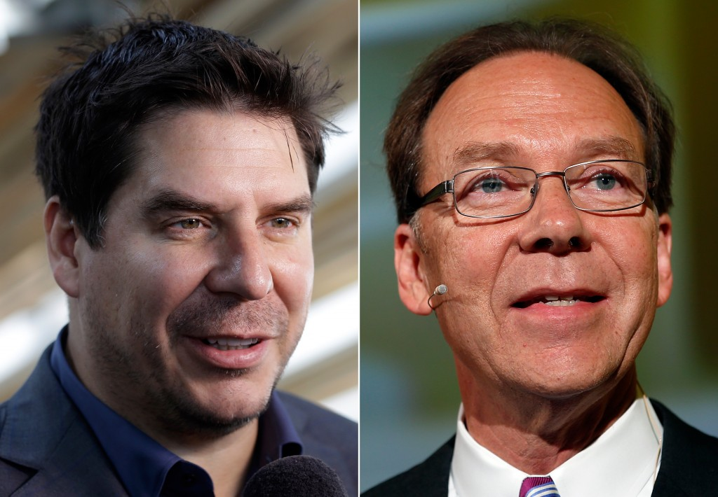 This combination made from file photos shows Brightstar CEO Marcelo Claure, left, and longtimeSprintCEO Dan Hesse.Sprint said it is replacing Hesse with Claure on the heels of a report that it is dropping its bid for rival wireless carrier T-Mobile. (AP Photo)