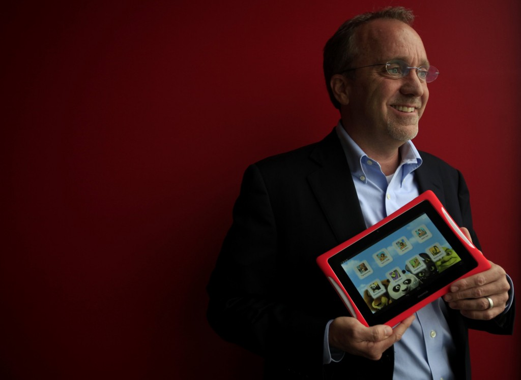 Fuhu CEO Jim Mitchell holds a new DreamTab in El Segundo, Calif., on March 24, 2014. Fuhu Inc. has made a name for itself in the tablet market by appealing to kids. Now, the company is dealing directly with children's entertainment companies, and its newest product was made with DreamWorks Animation. (Francine Orr/Los Angeles Times/MCT)