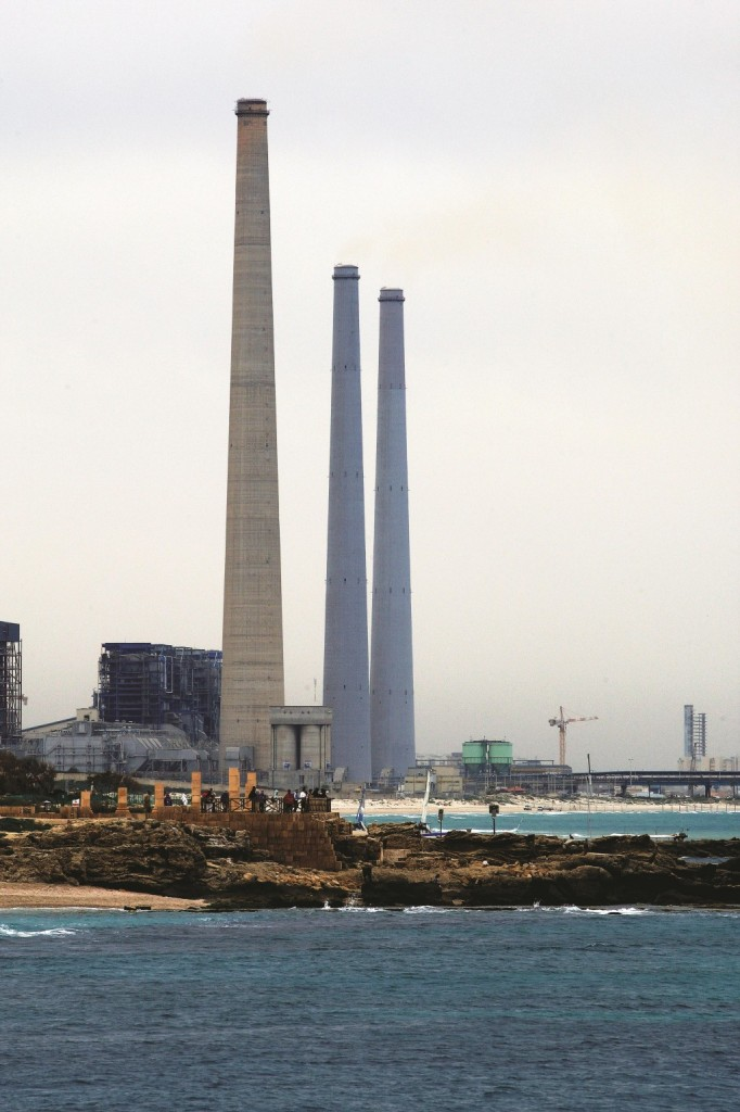 The landmark towers of the Orot Rabin Power Plant, on the coast at Hadera.  (Moshe Shai/Flash90)