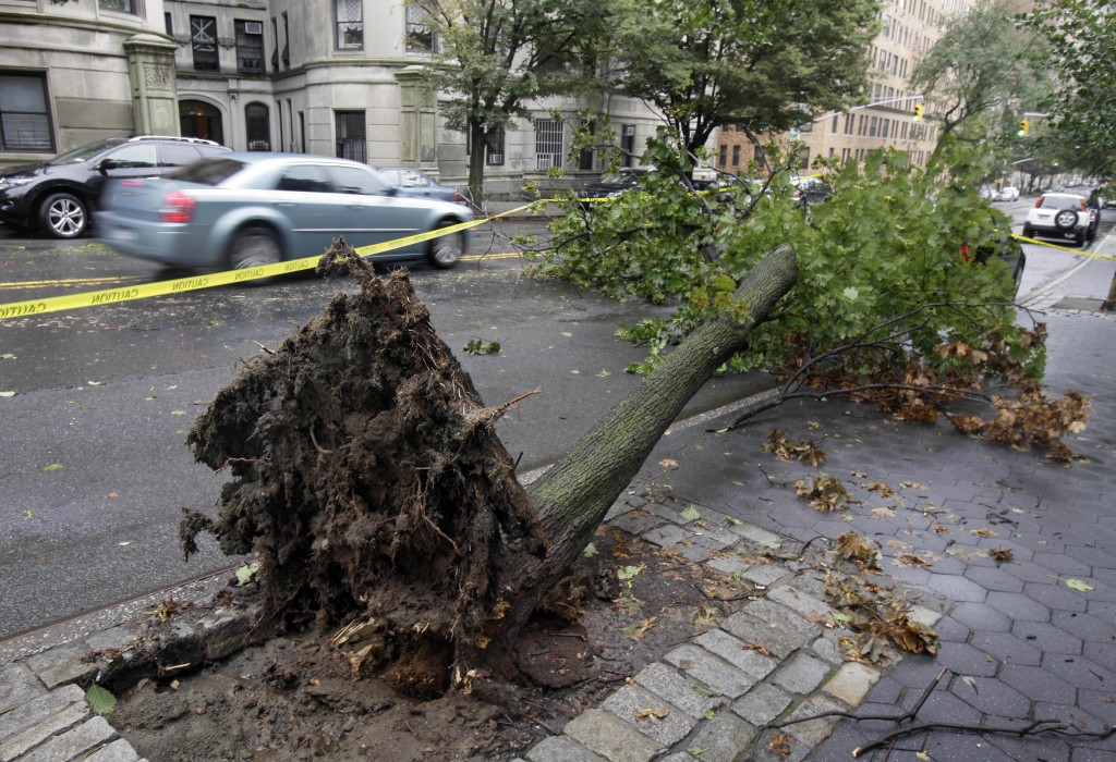 A fallen tree blocks a lane of Riverside Drive on New York's Upper West Side after tropical storm Irene hit the city three years ago. (AP Photo/Richard Drew)