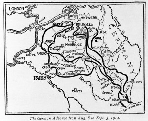 This map shows the German advance in August and September of 1914 during the Great War, World War I.  (AP Photo)