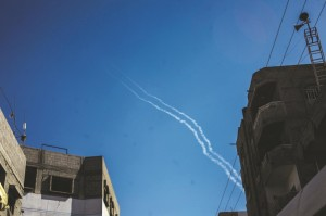 The first rockets to break the most recent Israeli-Palestinian ceasefire are launched into Israel on Tuesday. (Ibrahim Khader/Pacific Press/Sipa USA Sipa via AP Images)