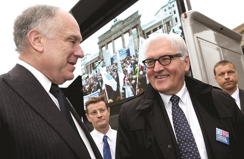 Ronald S. Lauder, president of the World Jewish Congress (L), and German Foreign Minister Frank-Walter Steinmeier (SPD) attend a rally against anti-Semitism on Sunday in Berlin, Germany. (Adam Berry/Getty Images)