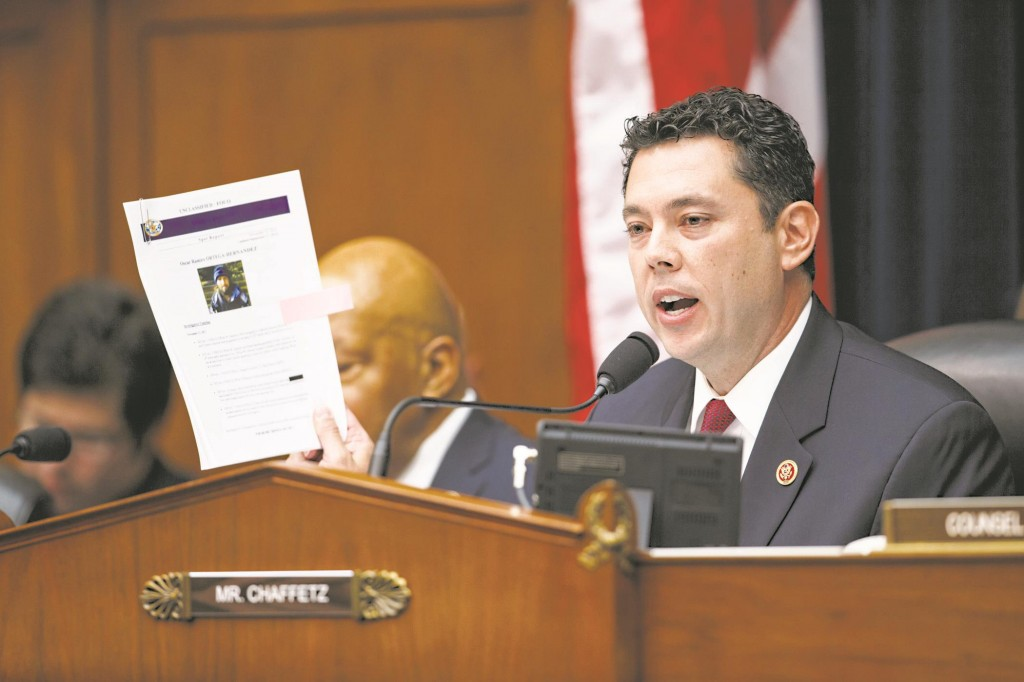 House Oversight Committee member Rep. Jason Chaffetz (R-Utah) leads the questioning of Secret Service Director Julia Pierson as the committee examines details surrounding a security breach at the White House. (AP Photo/J. Scott Applewhite)