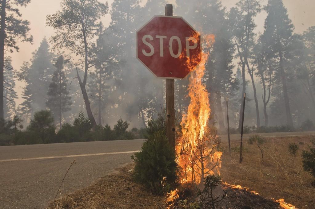 Fire burns near a 'Stop' sign near Uncle Tom's Cabin in El Dorado County. (AP Photo/The Sacramento Bee, Randall Benton)