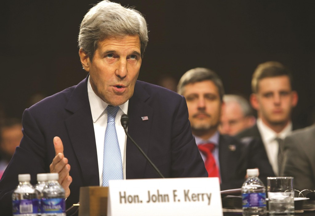 Secretary of State John Kerry testifies during a hearing before the Senate Foreign Relations Committee Wednesday, on Capitol Hill in Washington, DC. The committee held a hearing on 'United States Strategy to Defeat the Islamic State in Iraq and the Levant. (Alex Wong/Getty Images)