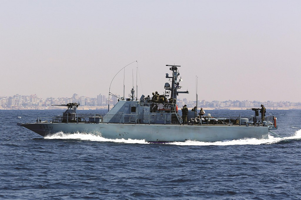 An Israeli Navy vessel seen patrolling off the coast of Gaza. (Edi Israel/FLASH90)
