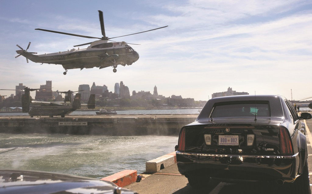 The Marine One helicopter, with President Obama and first lady Michelle Obama aboard, lands at the Wall Street heliport in New York, Tuesday. Obama is in New York for three days of talks with foreign leaders at the annual United Nations General Assembly. (AP Photo/Pablo Martinez Monsivais)
