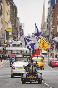 A No campaigner with Scottish flags attached to his motorcycle, rides along Bath Street on September 16, 2014 in Glasgow, Scotland.  (Jeff J Mitchell/Getty Images)