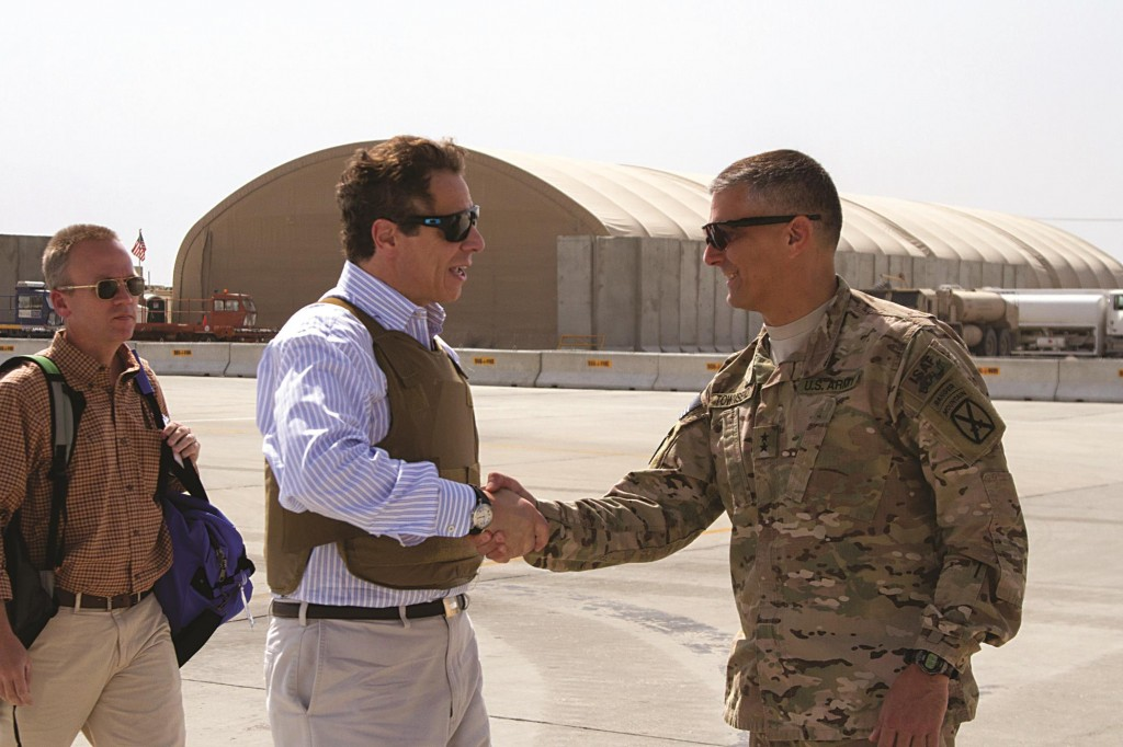 New York Gov. Andrew Cuomo is greeted by Regional Command-East Commander Maj. Gen. Stephen Townsend, (R), at Bagram Airfield, Afghanistan, Sunday.  (AP Photo/U.S. Army, Master Sgt. Kap Kim)