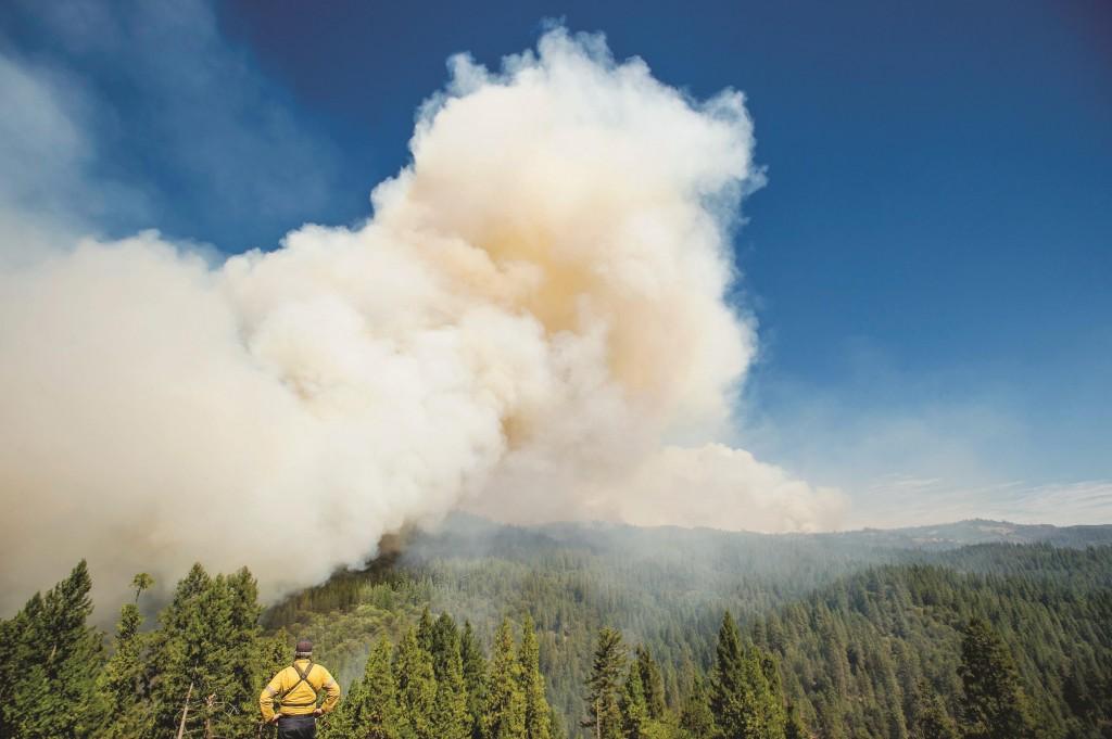 A firefighter watches Fire burn near Fresh Pond, California Wednesday.  (REUTERS/Noah Berger)