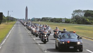 Participants in the 9/11 Memorial Motorcycle Ride, led by Gov. Andrew Cuomo, head to the World Trade Center site on Thursday. (Office of the Governor)