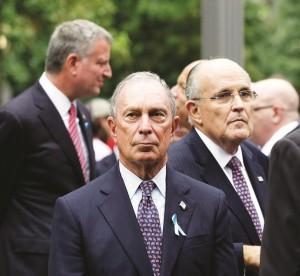 Mayor Bill de Blasio (L) joins his predecessors, Michael Bloomberg (C) and Rudy Giuliani at the 9/11 commemoration. (AP Photo)
