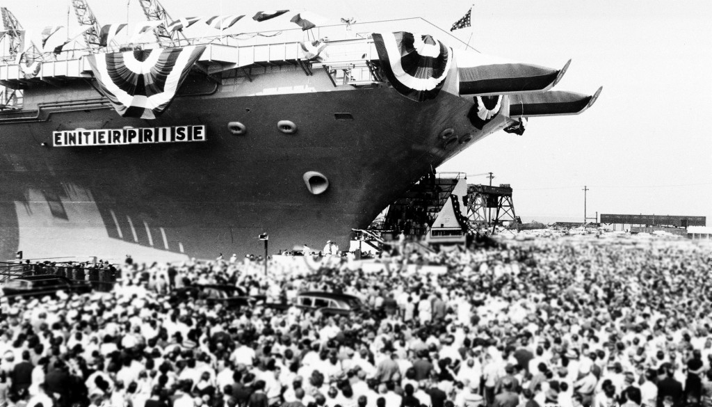 About 15,000 people gathered to watch the dedication of the USS Enterprise, the world's first nuclear-powered aircraft carrier, at Newport News, Va., Sept. 24, 1960.  (AP Photo)