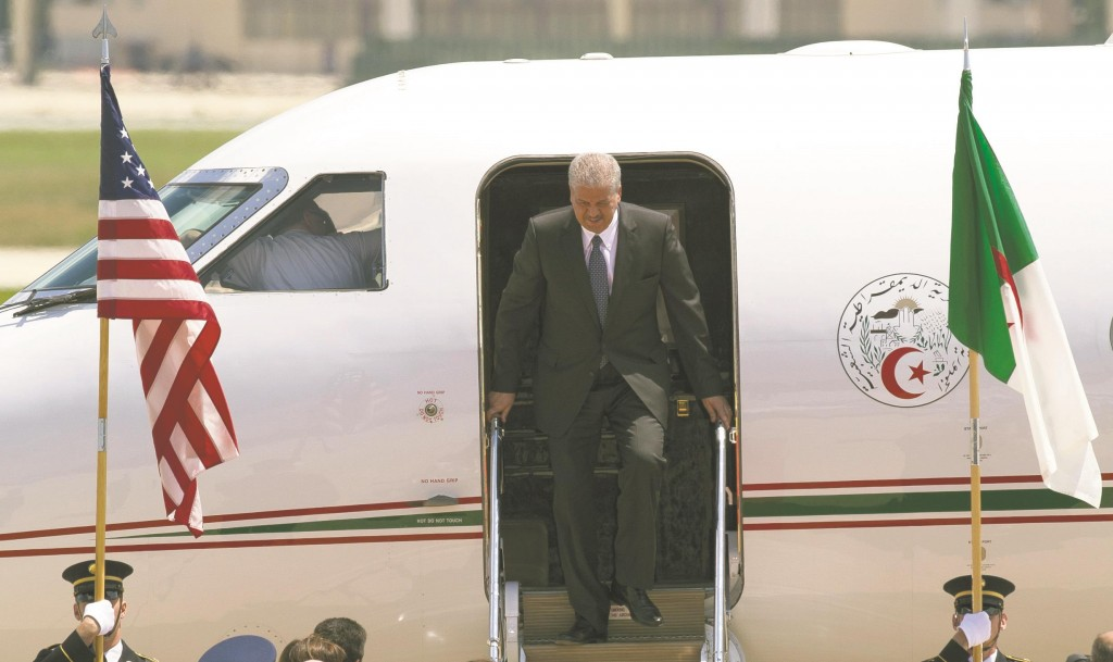 Algeria's Prime Minister Abdelmalek Sellal arrives at Andrews Air Force Base, Md., Monday, Aug. 4, to attend the U.S. Africa Summit.  (AP Photo/Cliff Owen)