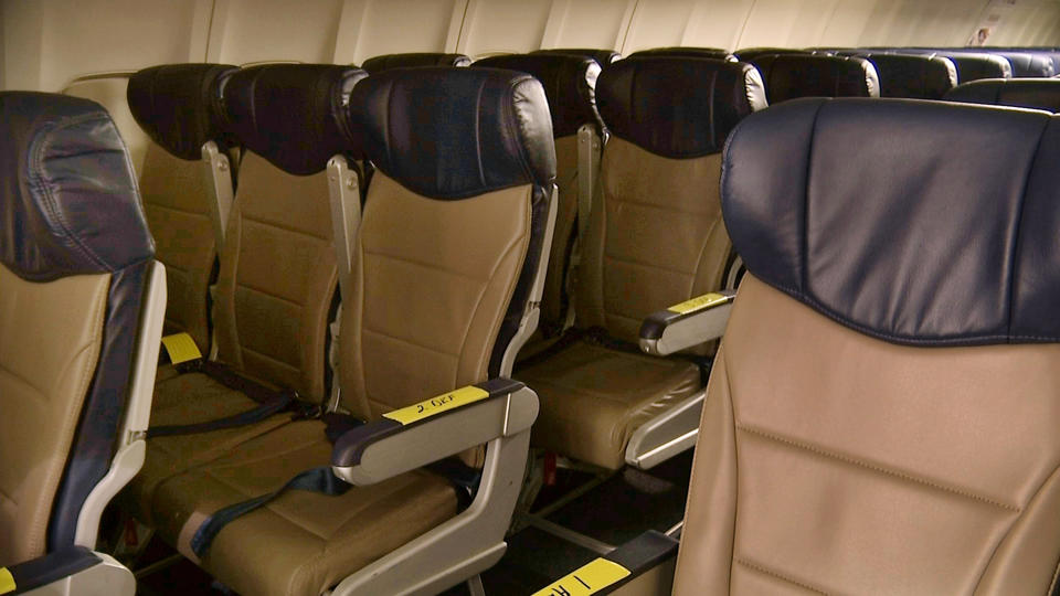 In this Sept. 23, 2013 photo, rows of slimline seats await installation aboard a Southwest Airlines 737 at the carrier's headquarters in Dallas. (AP Photo/John Mone)
