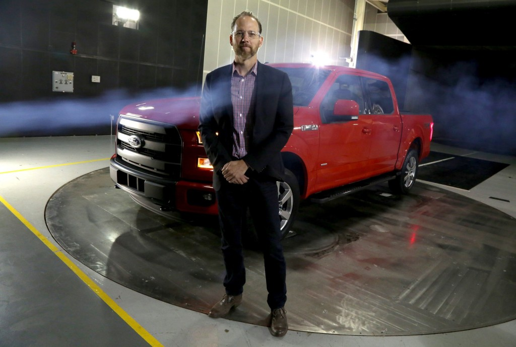 Brad Richards, the exterior-design manager of the 2015 Ford F-150, stands inside the wind tunnel Drivability Testing Facility in Allen Park, Mich., on Tuesday, Aug. 26, 2014. (Eric Seals/Detroit Free Press/MCT)