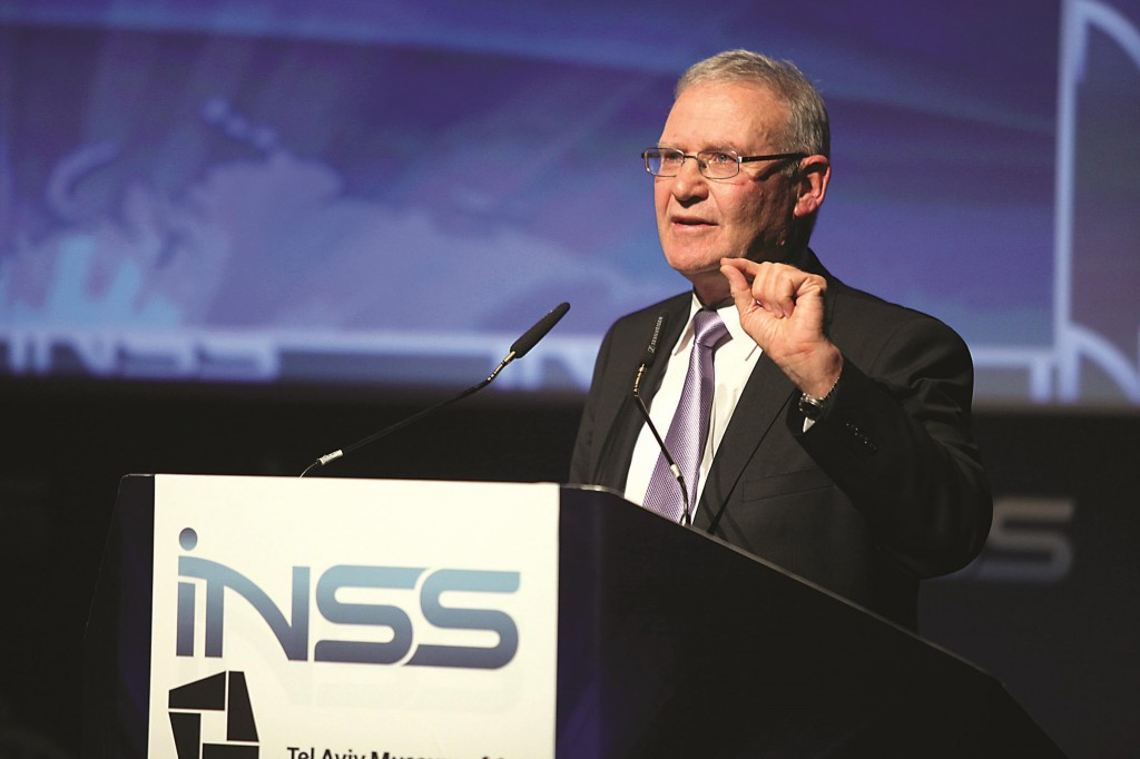 Major-General Amos Yadlin, former Director of Military Intelligence, addressing the INSS Conference in Tel Aviv.  (Gideon Markowicz/Flash90)
