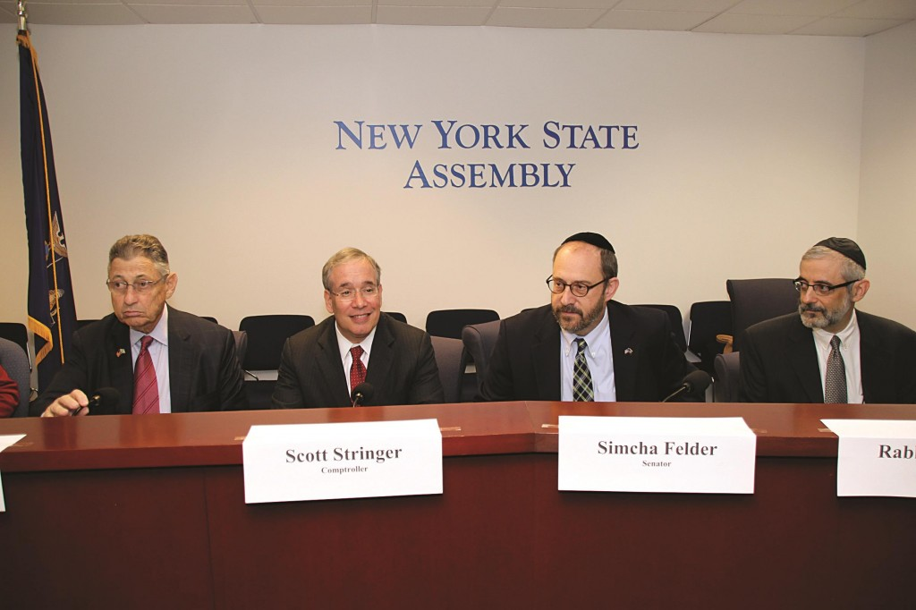 Assembly Speaker Sheldon Silver, Comptroller Scott Stringer, State Sen. Simcha Felder and Rabbi Chaim Dovid Zwiebel, Agudath Israel's executive vice president, at a seminar Wednesday in Silver's Manhattan office on the city's new policy for special-needs children in non-public schools. (Agudath Israel of America)