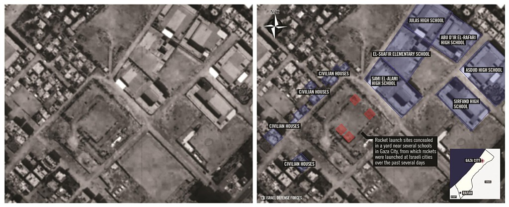 This combination of photos provided by the Israel Defense Forces shows, at left, a satellite image of the Gaza City neighborhood of Sheikh Radwan, and at right, the same image overlaid with the IDF's analysis of the image. The army says the image shows four rocket launch sites sitting next to a cluster of schools and nearby residences.  (AP Photo/Israel Defense Forces)