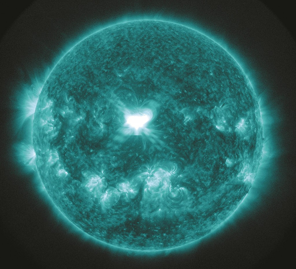 An extreme ultra-violet wavelength solar flare going about 2.5 million miles per hour affected Earth early Friday morning and sparked stunning Northern Light pictures. It's been several years since Earth has had a solar storm of this size. (AP Photo/NASA)