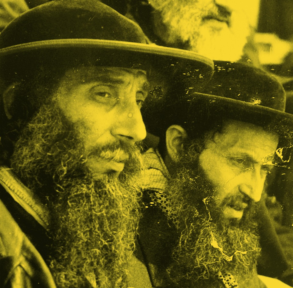 """Two of the five Weisz brothers, Hy""""d, from Spinka Chassidic dynasty, known as the """"Five Books of Moses,"""" upon their arrival in Auschwitz."""