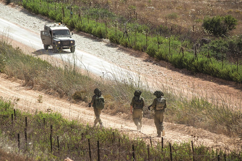 Israeli army forces patrolling along the border with Lebanon. (Ayal Margolin/FLASH90)