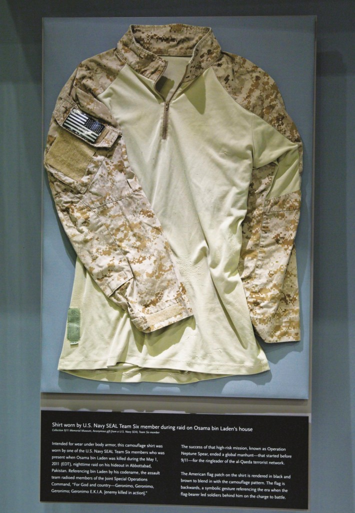 The fatigue shirt worn by a Navy SEAL during the mission to capture Osama Bin Laden is seen at the museum in New York on Sunday.