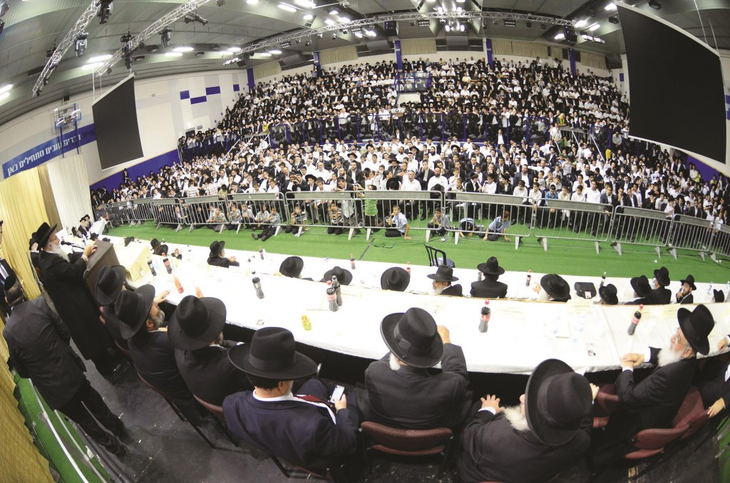 """A view of the crowd on Wednesday at an atzeres in Bnei Brak, marking the completion of eleven months since the petirah of Harav Ovadia Yosef, zt""""l. (JDN)"""