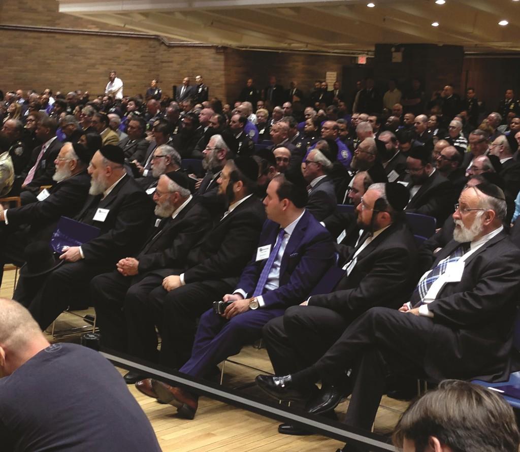 Jewish groups listen to Police Commissioner William Bratton. (Jacob Kornbluh)