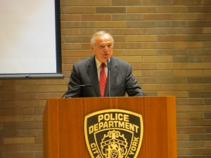 at a security briefing Wednesday at Police Plaza. (Jacob Kornbluh)