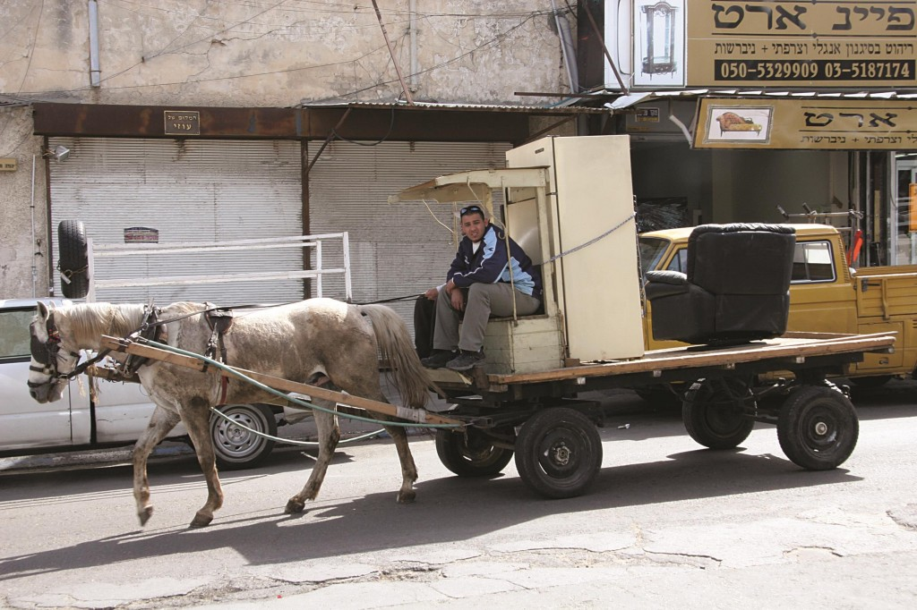 "The picturesque sight of wagons drawn by horses for collecting alte zachen (""old things,"" in Yiddish) will soon disappear from Israeli cities, Arutz Sheva reported. A Knesset committee on Sunday banned the use of such conveyances, whose drivers buy and sell old clothing, appliances, and household items. The Knesset Economics Committee ruled that the old-fashioned wagons are inconsistent with the modern lifestyle in urban Israel. The regulations make an exception for tourism purposes only. Alte zachen wagons, a remnant from eastern European Jewish communities, are mostly driven by Arabs, who still call out the Yiddish phrase. (Harari Isaac/Flash90)"
