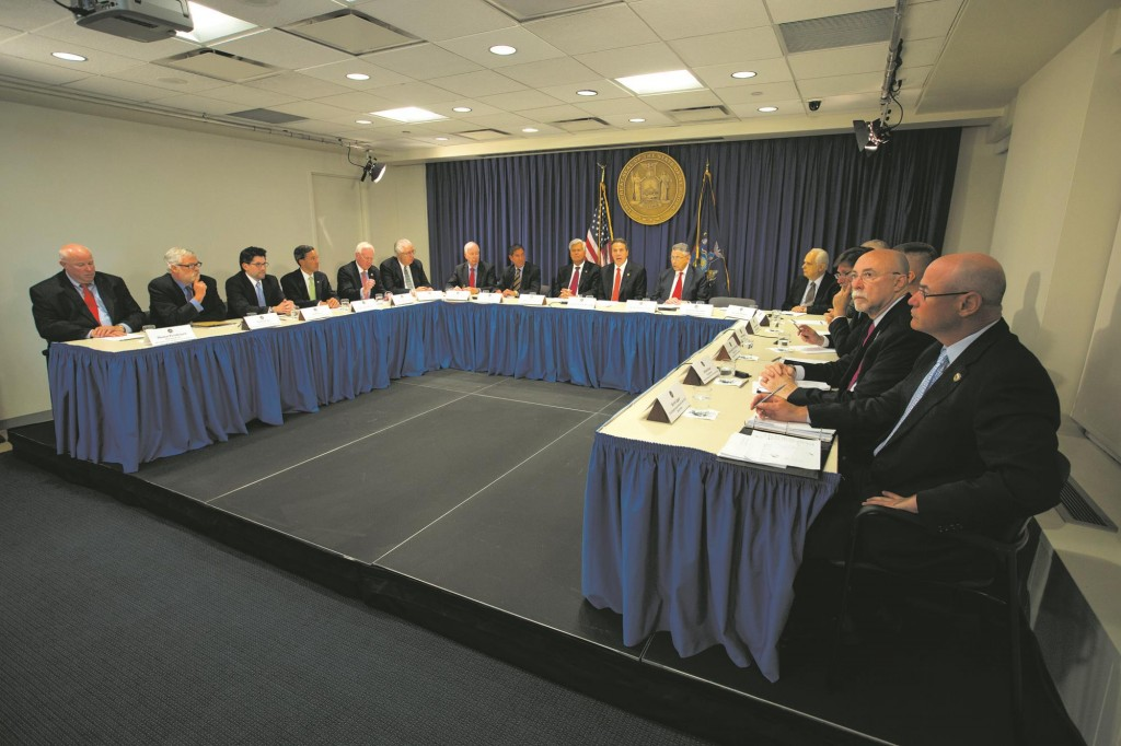 Gov. Andrew Cuomo and state legislators on Friday discuss the beefed-up security in the state. (Office of the Governor)