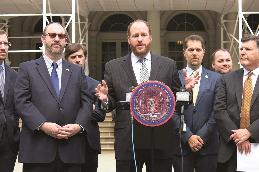Councilman David Greenfield speaks at the City Hall press conference calling on Mayor Bill de Blasio to combat a rising number of anti-Semitic crimes in New York City.
