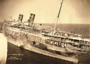 SS Morro Castle after the fire; photo taken from the seaward end of the Asbury Park Convention Hall pier, November 1934.