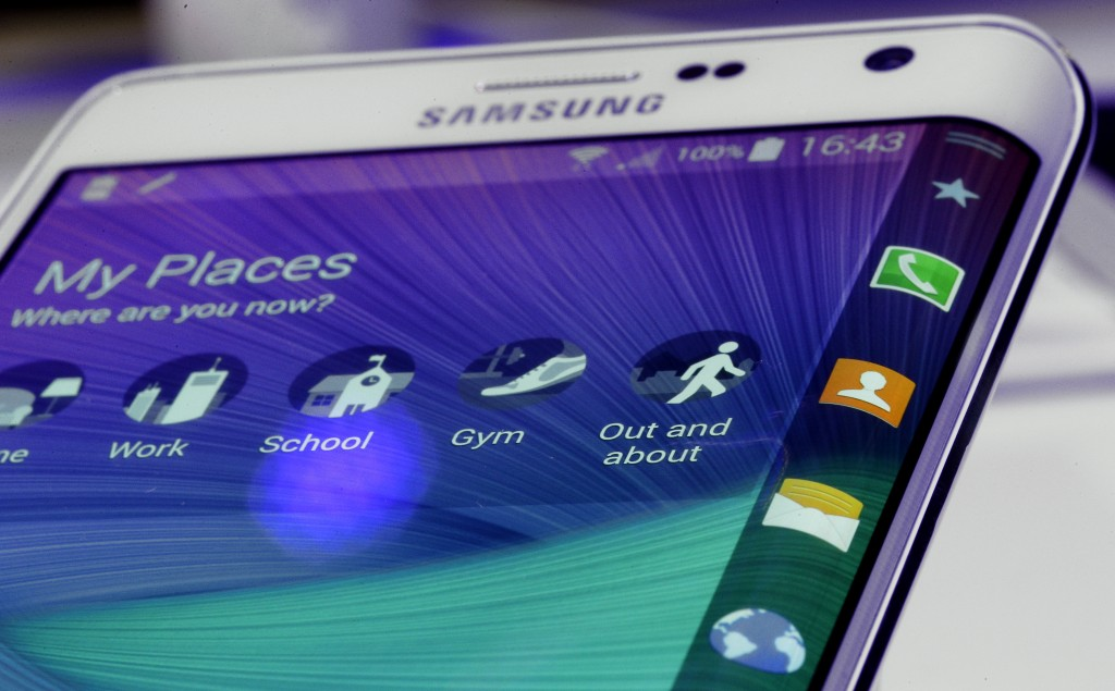The curved display of a Samsung Galaxy Note edge is pictured during an 'Unpacked event' at the IFA, one of the world's largest trade fairs for consumer electronics and electrical home appliances, in Berlin, Germany, on Wednesday, Sep. 3, 2014. (AP Photo/Michael Sohn)