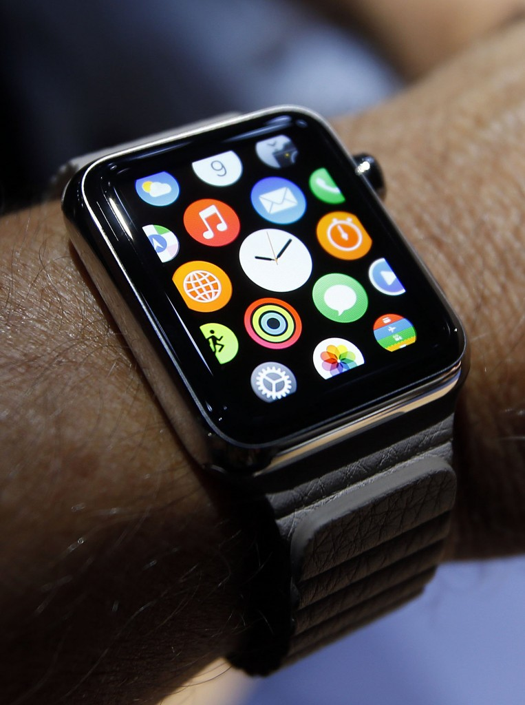 A new Apple smartwatch is demonstrated at the Flint Center in Cupertino, Calif., on Tuesday, Sept. 9, 2014. (Karl Mondon/Bay Area News Group/MCT)