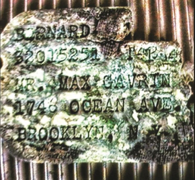 Army Pfc. Bernard Gavrin of Brooklyn's dog tag, which was discovered in April.