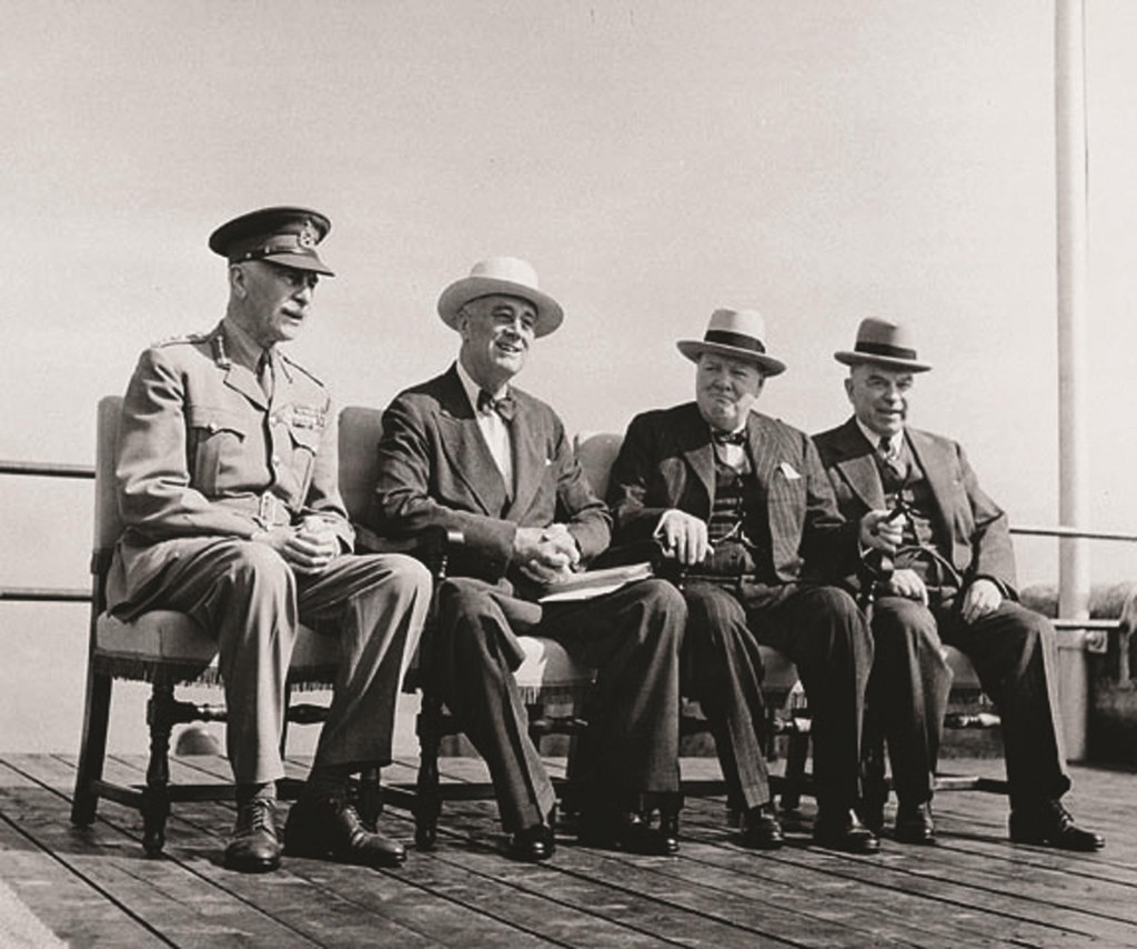 The Earl of Athlone, Governor General of Canada, with William Lyon Mackenzie King, Winston Churchill, and President Franklin D. Roosevelt at the Octagon Conference, Québec, September 12, 1944.