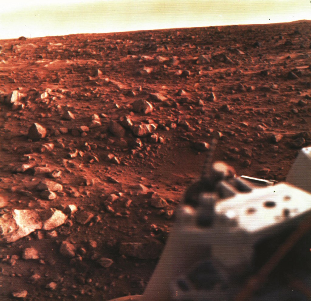 The Martian surface is shown in an image taken by the Viking 1 lander in August 1976.  (AP Photo/NASA)