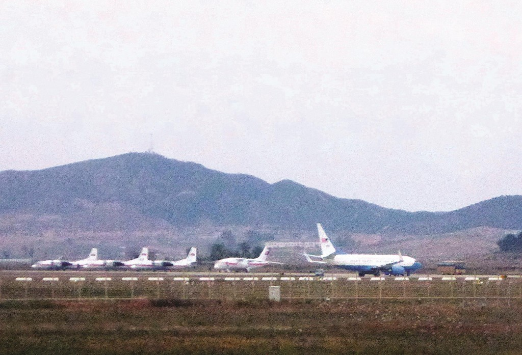 A United States Air Force passenger jet, right, is parked on the tarmac of Sunan International Airport in Pyongyang, North Korea, Tuesday. (AP Photo/Wong Maye-E)
