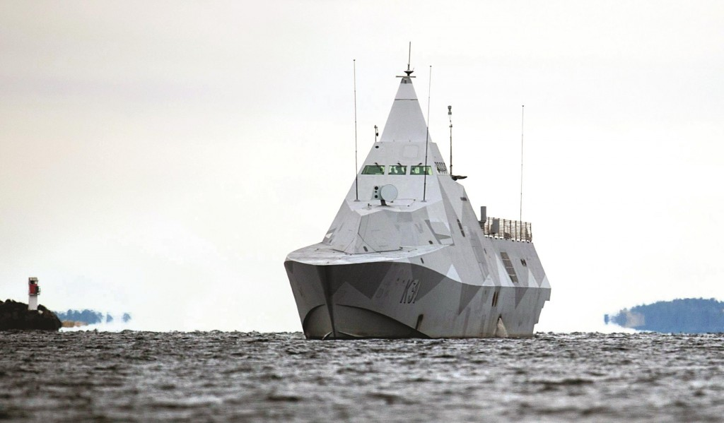 The Swedish corvette HMS Visby navigates on Mysingen Bay, as the search for a suspected foreign vessel enters its fifth day in the Stockholm archipelago, Tuesday. (AP Photo/TT News Agency, Fredrik Sandberg)